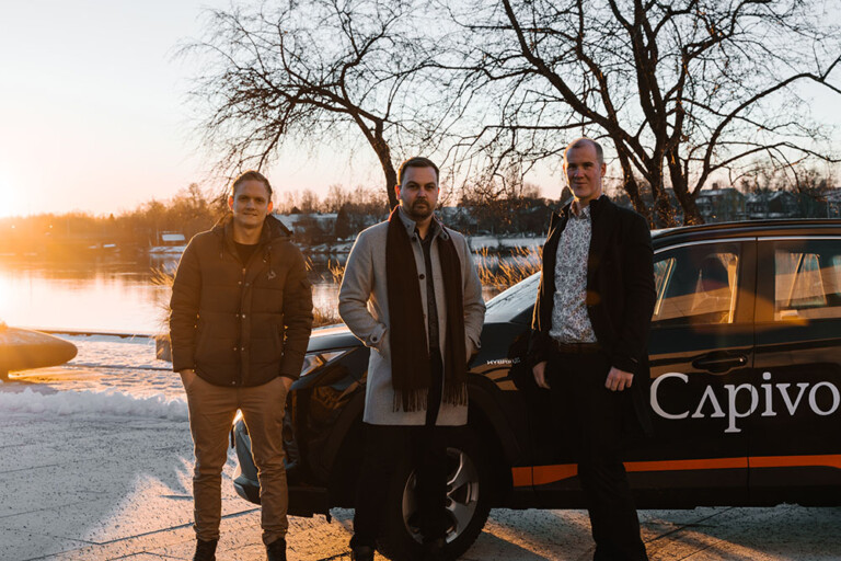 Bild på Pär Vidmark, Marcus Olsson och Elias Andersson från företaget Capivo.